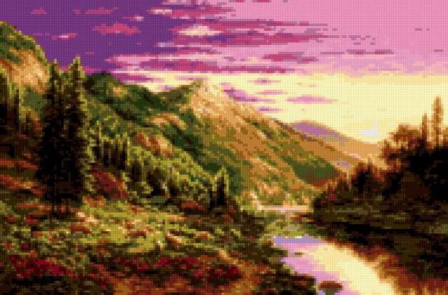 пейзаж, вечер, горы, река