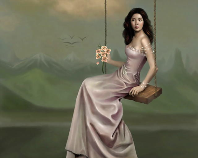 Девушка на качелях, оригинал