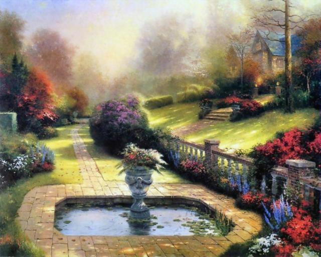 Фонтан, пейзаж, картина