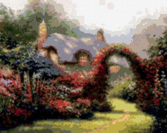 Цветочная арка, пейзаж