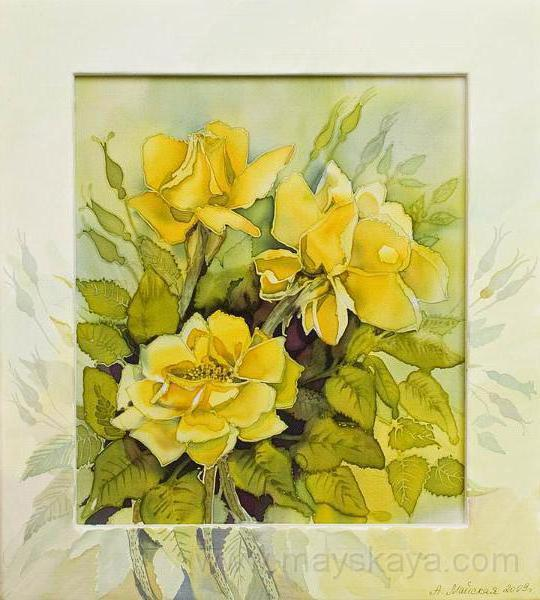 Желтые цветы - акварель