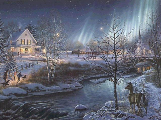 Северное сияние., новый год.