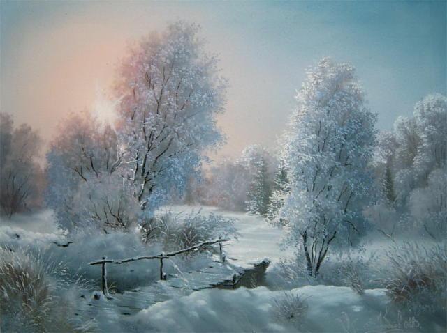 Зимний лес, зима, картина,