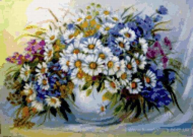 Полевые цветы в вазе,