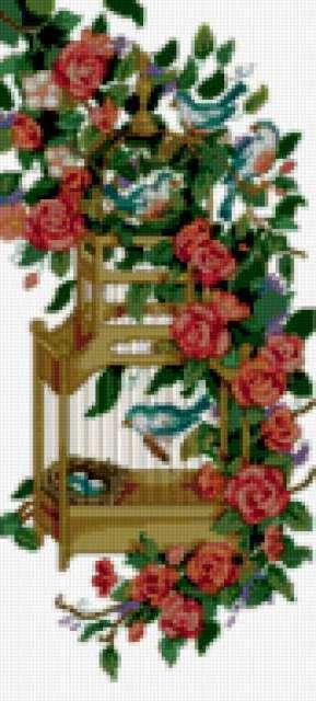 Клетка в розах, цветы, птицы