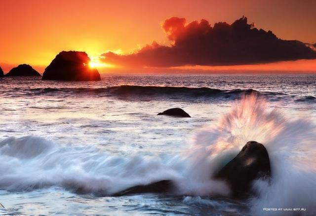 Закат на море, закат, море,
