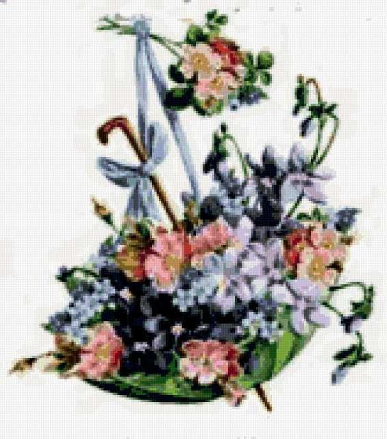 Вышивка крестом зонтик с цветами схемы 73