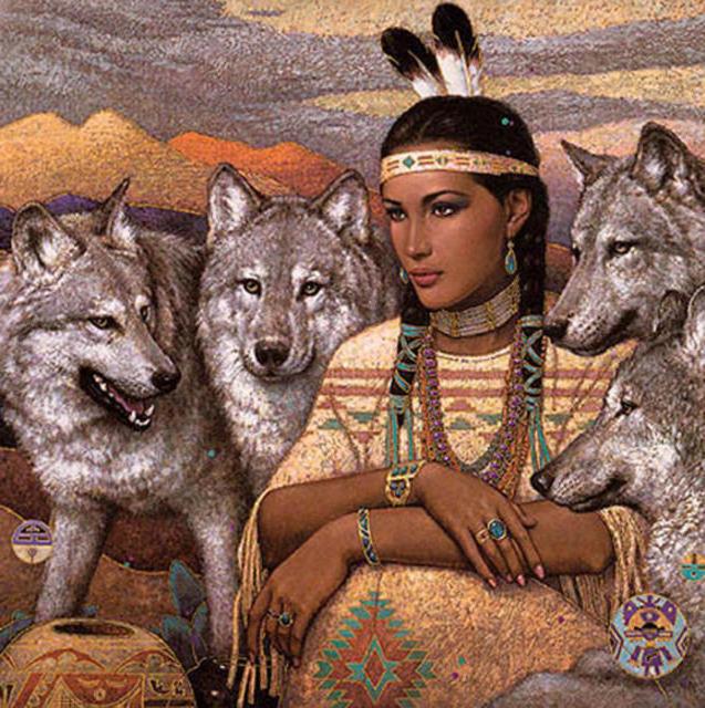 Индианка и волки, оригинал