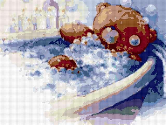 Мишутка в ванной, медвежата,