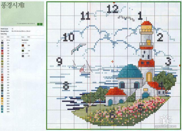 часы лето домик маяк