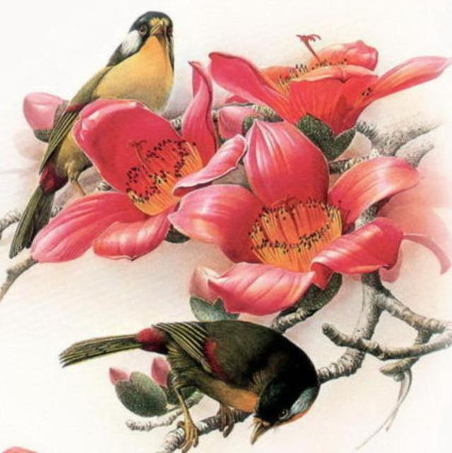 Подушка Птицы, птицы, цветы,