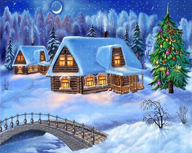 Зимний вечер, зима, пейзаж,