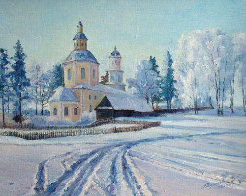 Храм, зима, храм, село, пейзаж