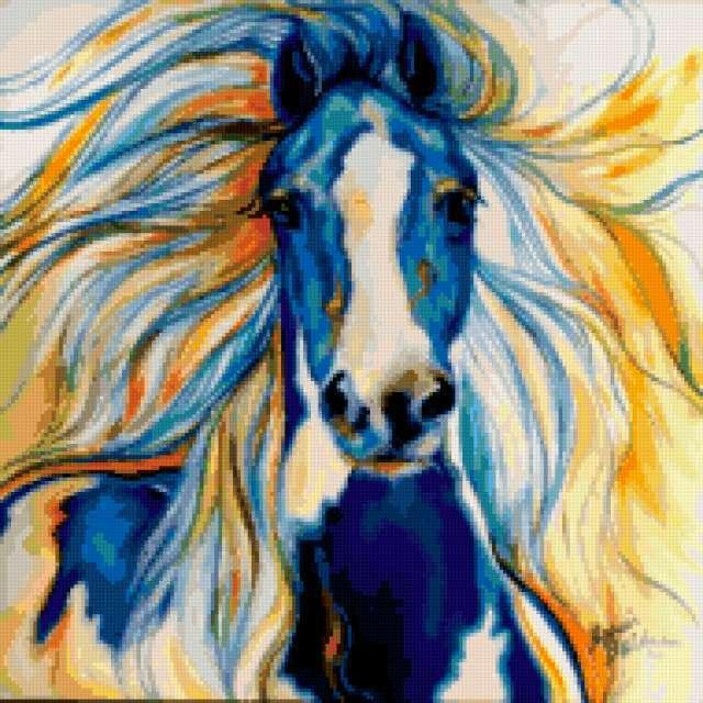 Подушка Синяя лошадь