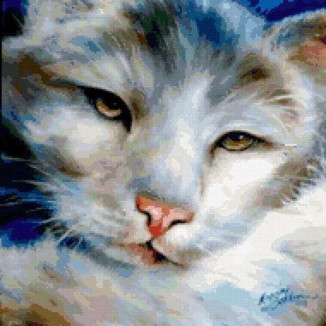 Подушка Белый кот