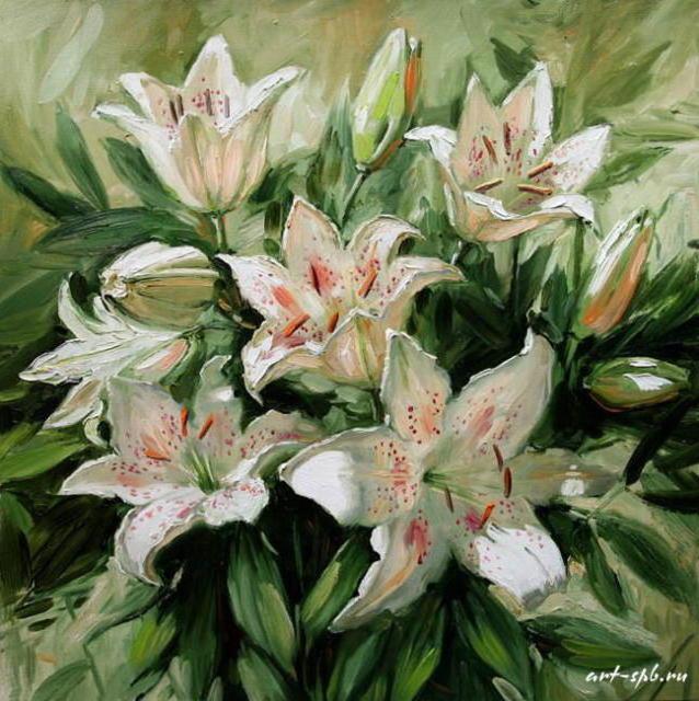 К схеме вышивки «Белые лилии»