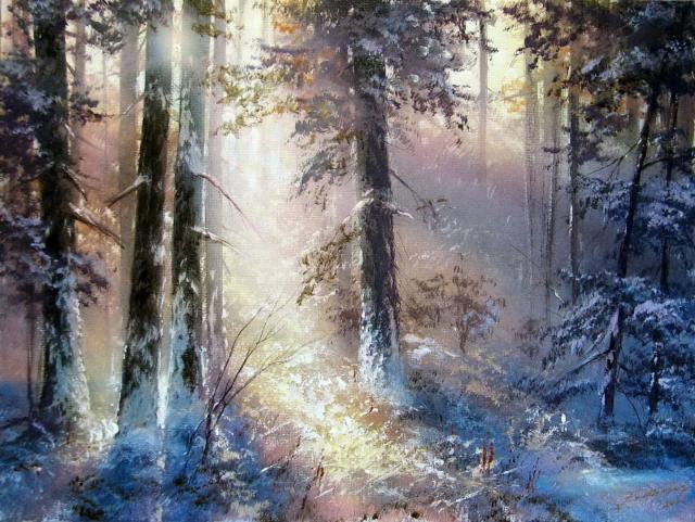 Зимнее утро в лесу,