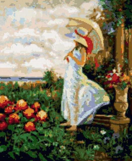 зонтик, в саду, картина,