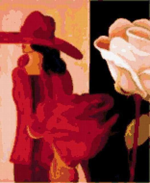 Леди в красном, девушка, цветы