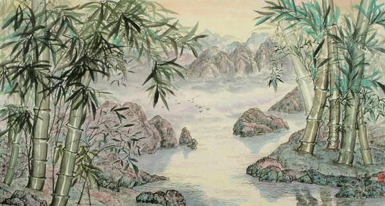 Бамбук у озера, пейзаж, китай,