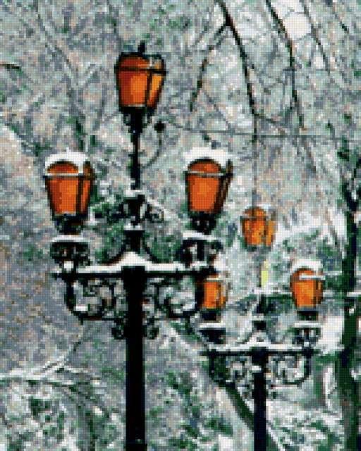 Фонари зимой, предпросмотр