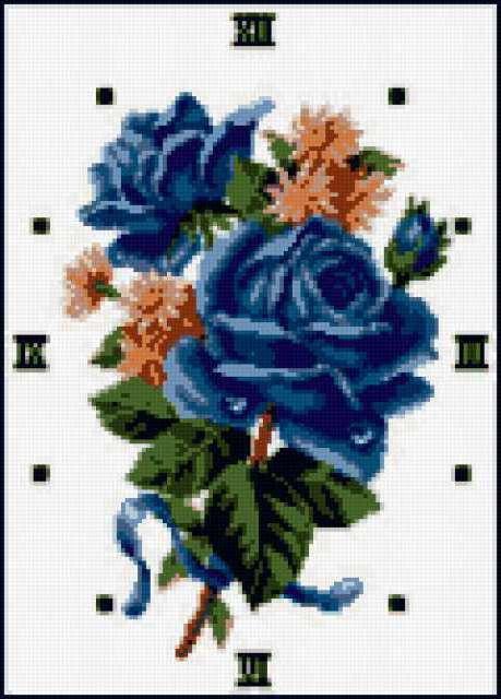 Часы с голубыми розами,