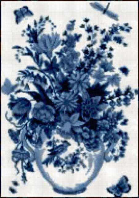 Голубые цветы, цветы, букет,