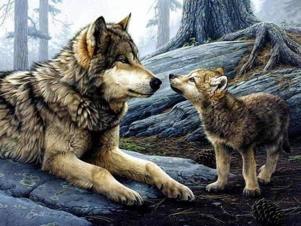 Волчица с волчонком, оригинал