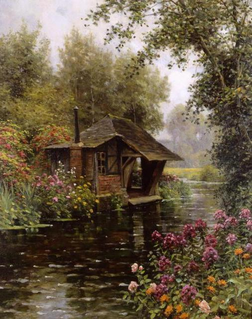 Домик в лесу 2, пейзаж, речка