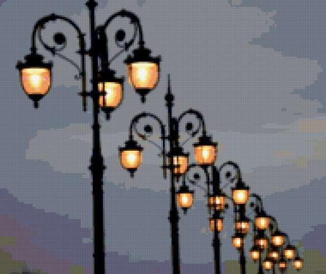 Фонари в ночи, фонари, небо,
