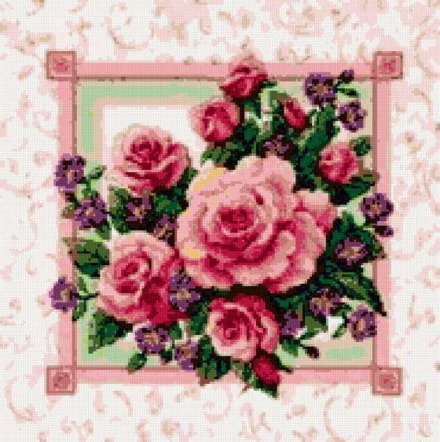 Розы и фиалки, роза, розы,
