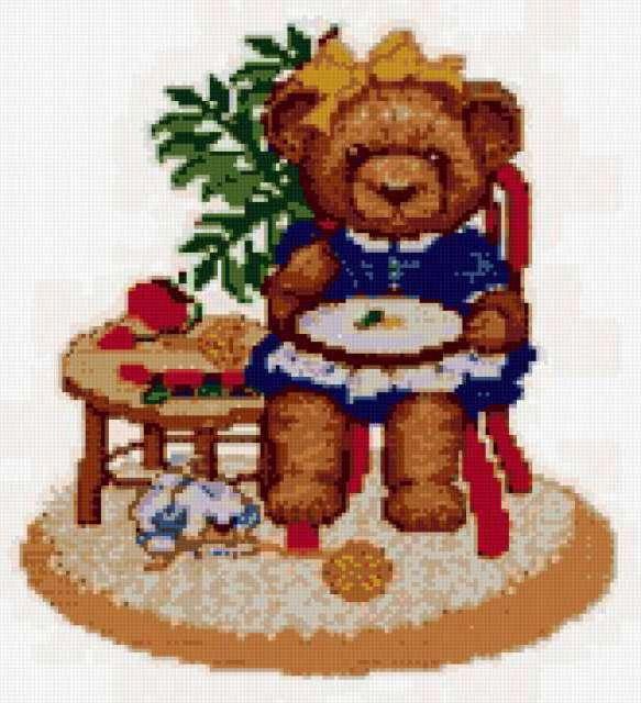 Вышивальщица, медвежата, мишки