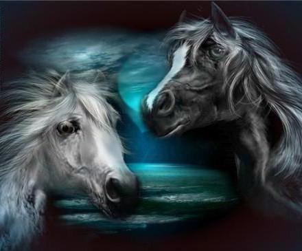 Пара лошадей, животные