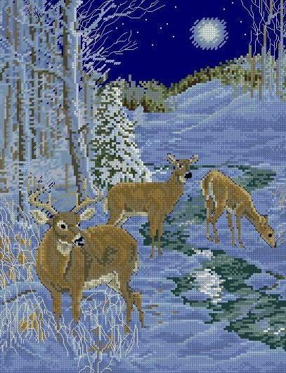 Олени в зимнем лесу, оригинал