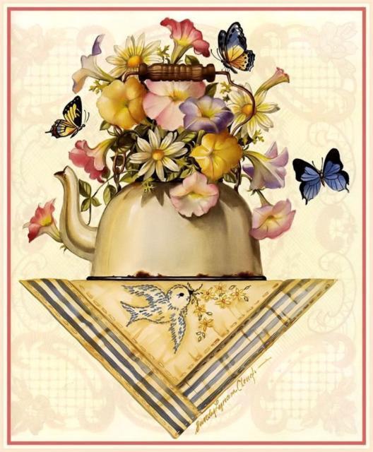 Панно на кухню, чайник, цветы,