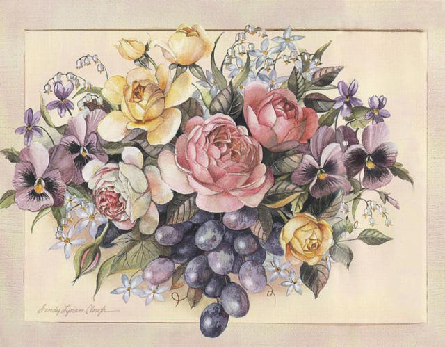 Старинная картина, цветы
