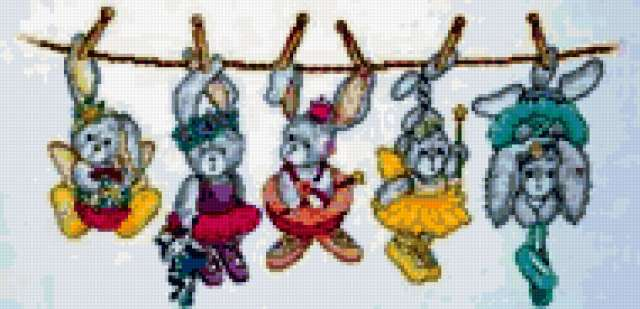 Зайчата балерины на веревке,