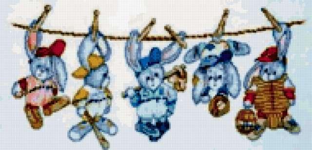 Зайчата бейсболисты на веревке