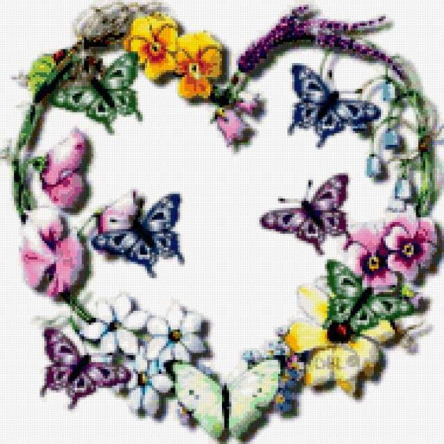 Сердце, цветы, бабочки