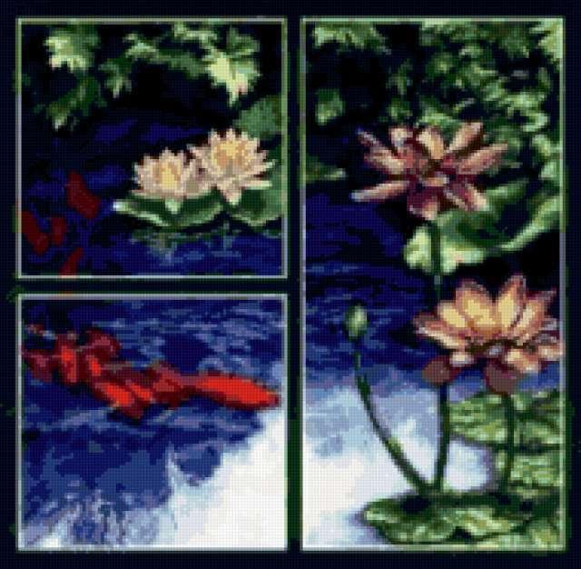 Триптих Лотосы и рыбы, цветы,