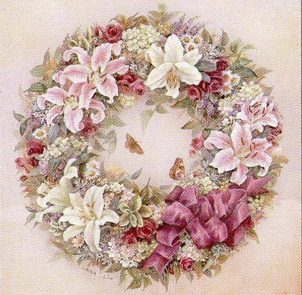 Венок, цветы, лилии, розы,