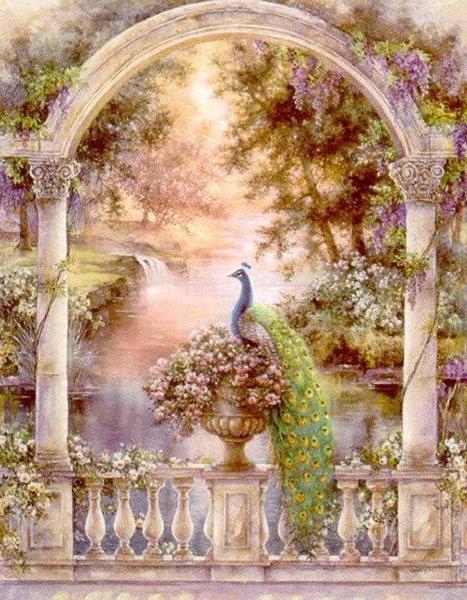 Цветущая арка и павлин,