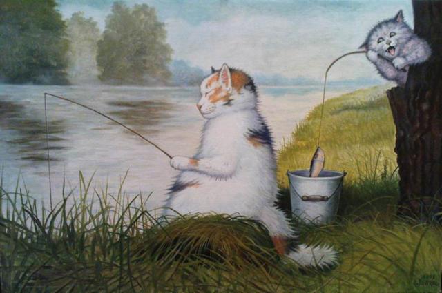 Коты на рыбалке, коты, рыбалка