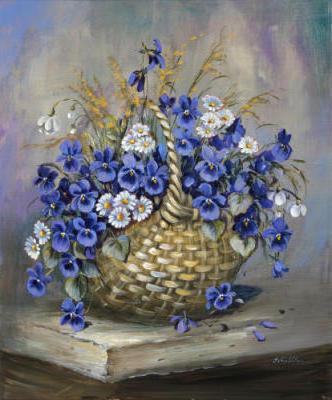 Букет цветов в корзине, цветы,