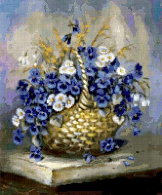 Букет цветов в корзине,