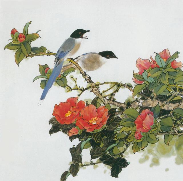 Схема вышивки две птицы на ветке
