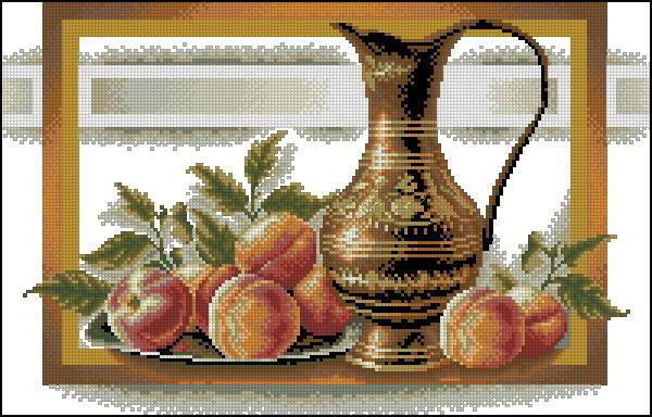 Кувшин с персиками, натюрморт