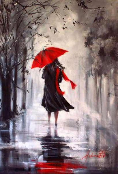 Осень, дождь, зонтик, картина,
