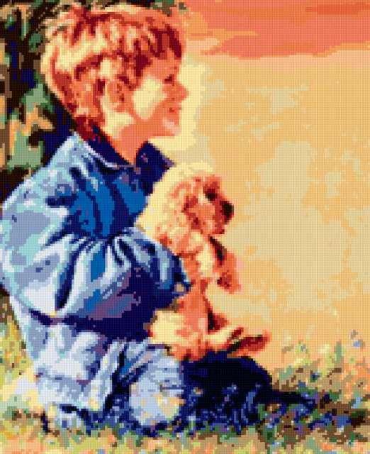Мальчик с собакой, дети,