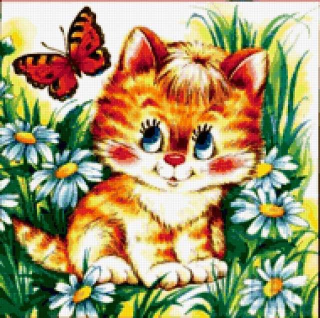"Подушка ""Котенок с бабочкой"","